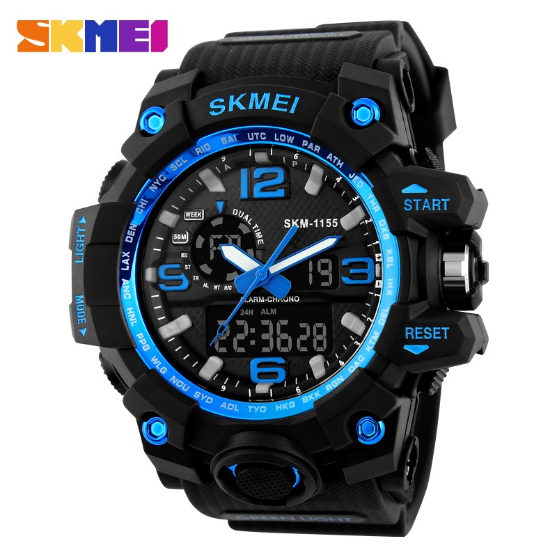 skmei 1155 multifunction dual time led analog clock army big head men 50m waterproof dive sport japan quartz military wristwatch