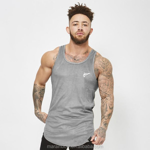 Grey Black Suede Longline Tank Vest Mens Elongated Curved Hem Fitted Gym Tank Top Longline Gym Stringers Wholesale