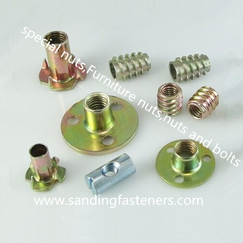 carbon steel zinc plated furniture wood insert nuts/furniture nuts