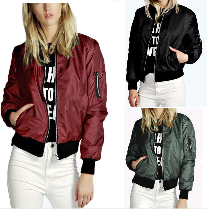 European style polycotton plain softshell jacket winter women bomber jacket
