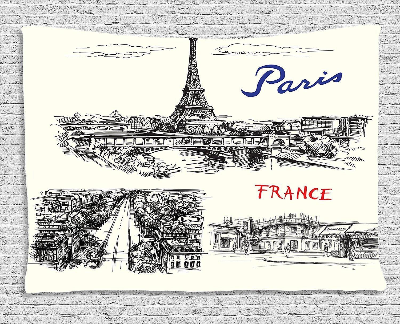 Custom Eiffel Tower Decor Decoration, Paris Sketches Silhouette Classic  Landscape Traffic Monochrome Illustration,Bedroom