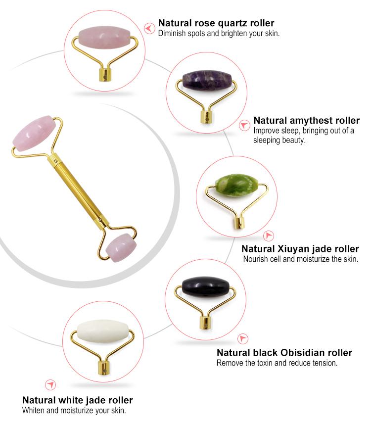 Commercio all'ingrosso Migliore Anti Invecchiamento Viso Massaggiatore Rosa Rosa Naturale Del Viso Rullo di Giada e Gua Sha Set