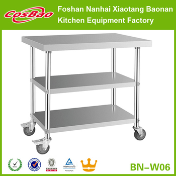 hospitality equipment 3 levels stainless steel working table with