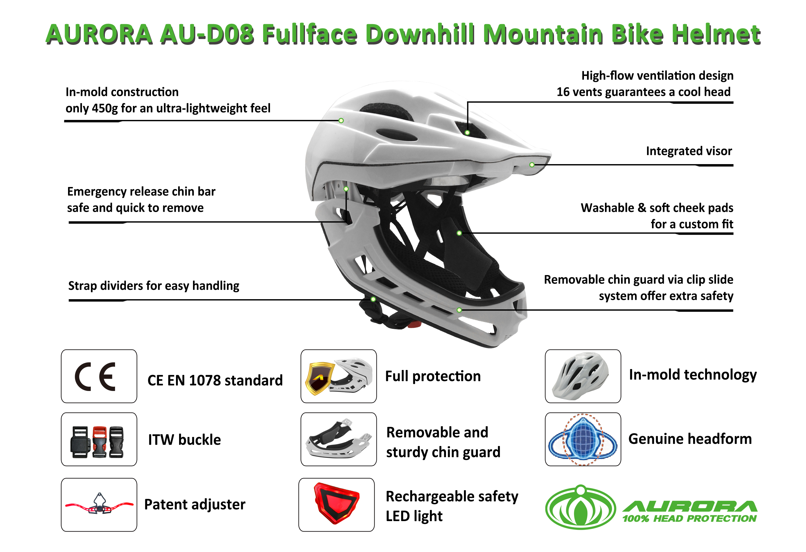 Full-face Cycling  Kids Downhill  Mountain Bike Helmet