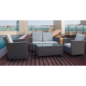 4-piece steel cheap KD (knockdown) grey rattan garden furniture wicker sofa outdoor furniture