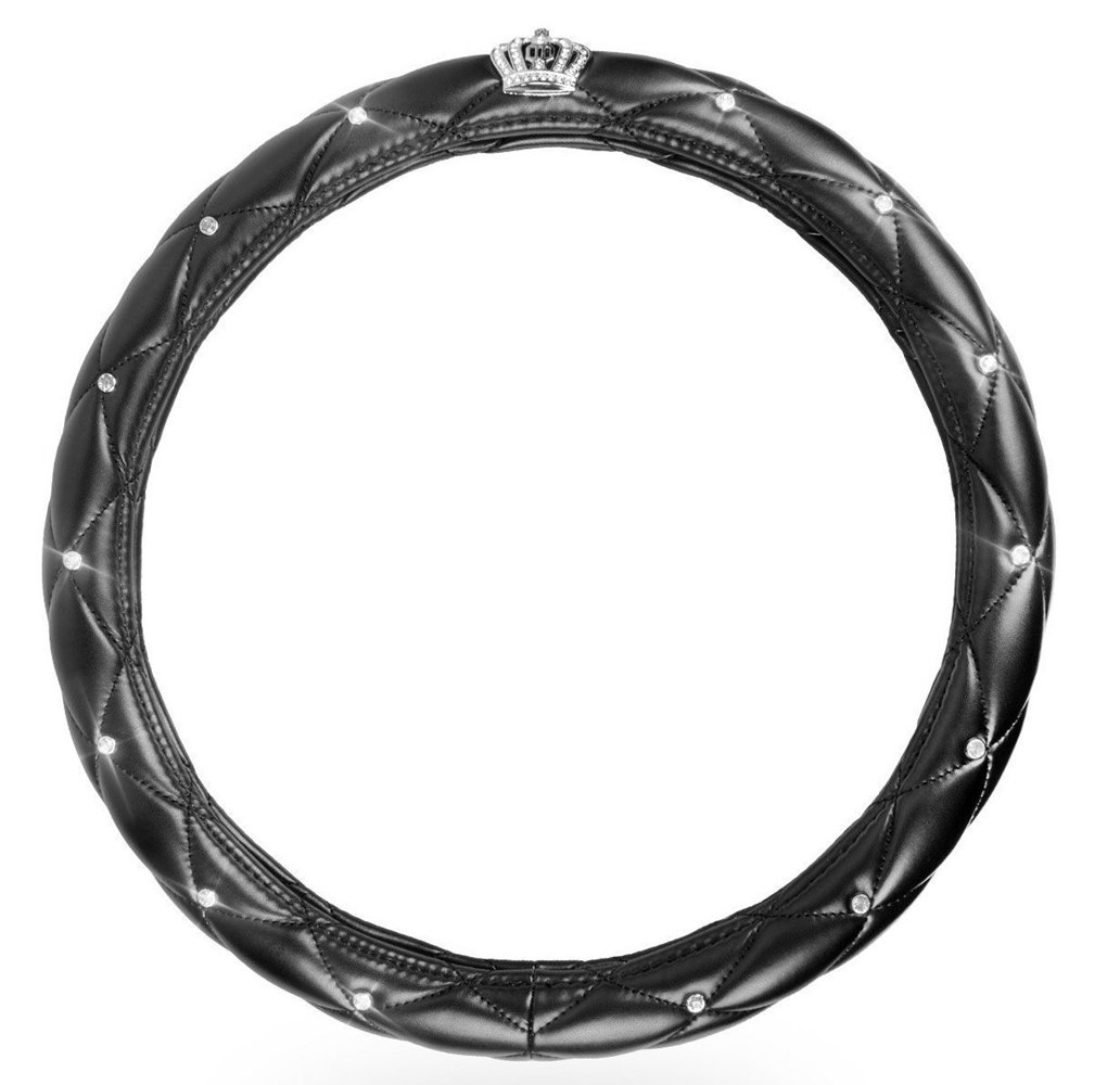 Bling Cystal Crown Auto Leather Steering Wheel Cover, Rhinestones Handcraft All-Weather Car Steering Wheel Cover Protector For Women, Lady Universal 15 inch,Black