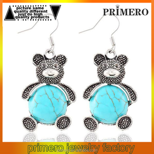 Vintage Crystal Tibetan Silver Turquoise Animal Tortoise Bear Drop Dangle Earrings Women Jewelry