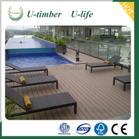 Water proof and UV-protect WPC solid decking floor for seaside or dock, marine