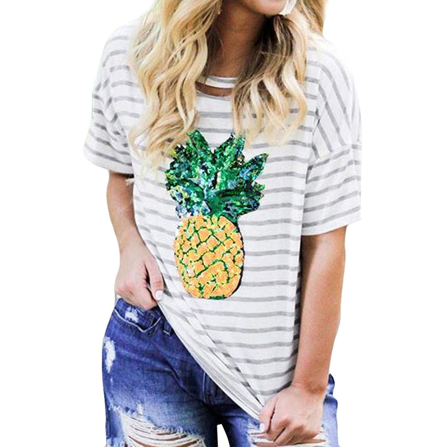 Ninasill Clearance ! Women Blouse, Hot Fashion Sequins Pineapple Print Stripe Top Short Sleeve T-Shirt Tops Tank