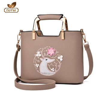 Latest design ladies leather hand bags made in china big stylish embroidery  handbag d482fdf2ba1e4