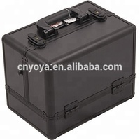 All in Black Aluminium Beauty Makeup Train case for pretty girl