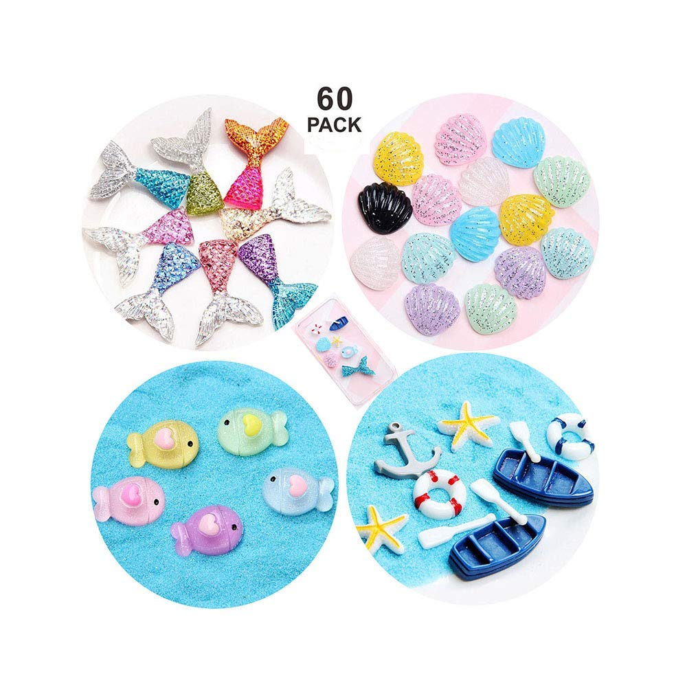 60 PCS Slime Charms Mixed Mermaid Tail Cute Fish Shell Starfish Boat Slime Beads Resin Making Supplies for Scrapbooking DIY Crafts