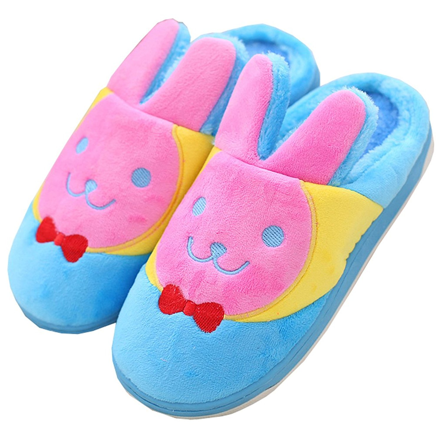6b4f65a739c Get Quotations · Blubi Womens Bunny Plush Warm Slippers Cute Indoor Slippers  with Thick Sole