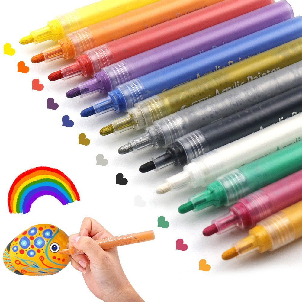 Get Quotations Acrylic Paint Pens For Rocks Painting Ceramic Gl Wood Fabric Canvas