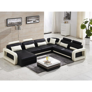 Modern sofa set 7 seater Real Leather Sofa Couch, Low Frame Design, Black  sofa