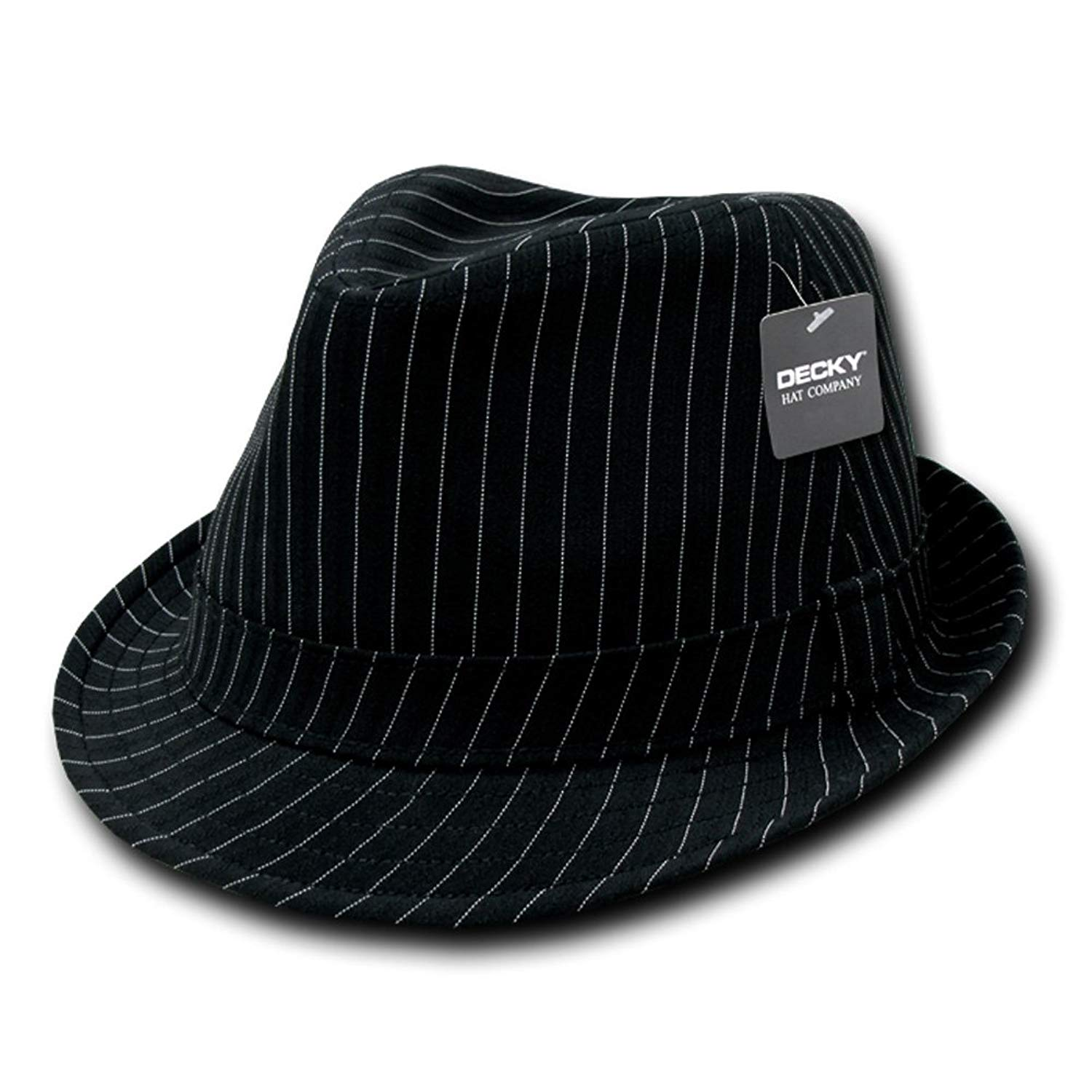 addebe313cfcf Get Quotations · DECKY Black Deluxe Pinstripe Fedora