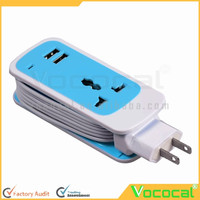 3 in 1 Mini Portable Universal Dual USB Universal Electrical Switch Socket Travel Home Charger Surge Protector US Plug