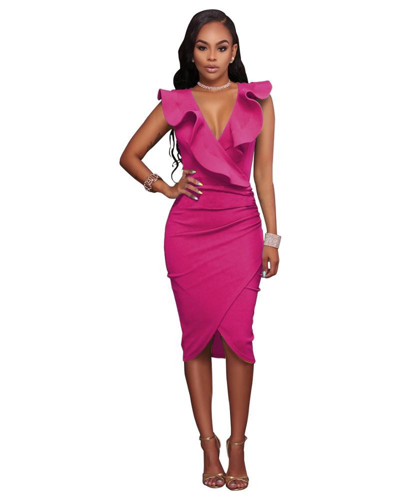 New Design Sleeveless Women's Summer Fashion Dresses Ladies Ruffled Casual Slim Pencil Dress фото