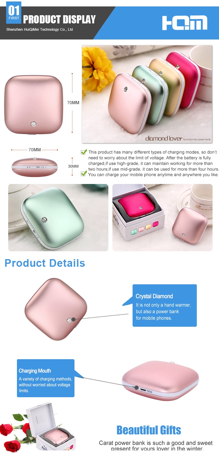 3500mAh Mini Portable Warm Up Power Bank Elec. usb Rechargeable Hand Warmer