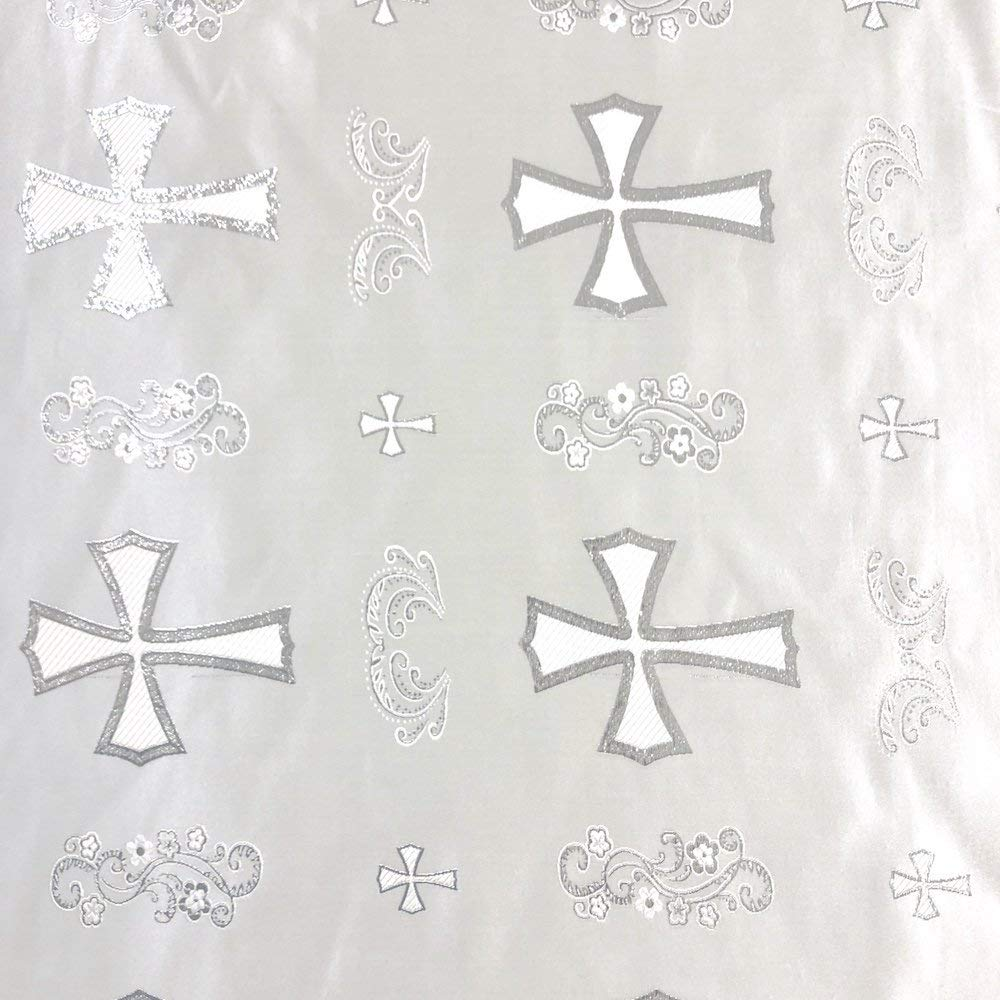 """Metallic Clerical Church Cross Brocade Fabric 60"""" Wide 100% Polyester Sold By The Yard Many Colors (White/Silver)"""