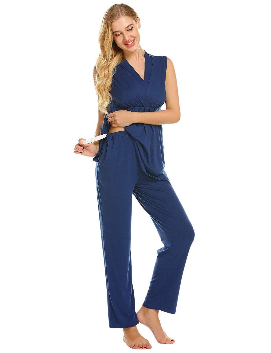 9c258307eaabf Get Quotations · Skylin Cotton Soft Maternity & Nursing Pajamas Sleepwear  Set Womens Breastfeeding Pjs Pregnancy Loungewear S-