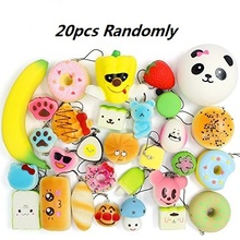 Squishies Slow Rising Squishy Toys 20pcs Random Jumbo Medium Mini Kawaii Squishies Panda, Buns & Cake Squishies, Phone Straps