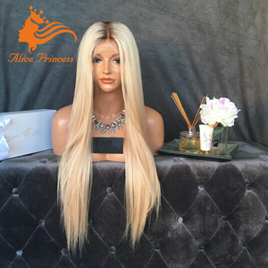 8A Grade Russian Hair Silky Straight Lace Front Blonde Wig Root Medium Brown Ombre Color Wig For White