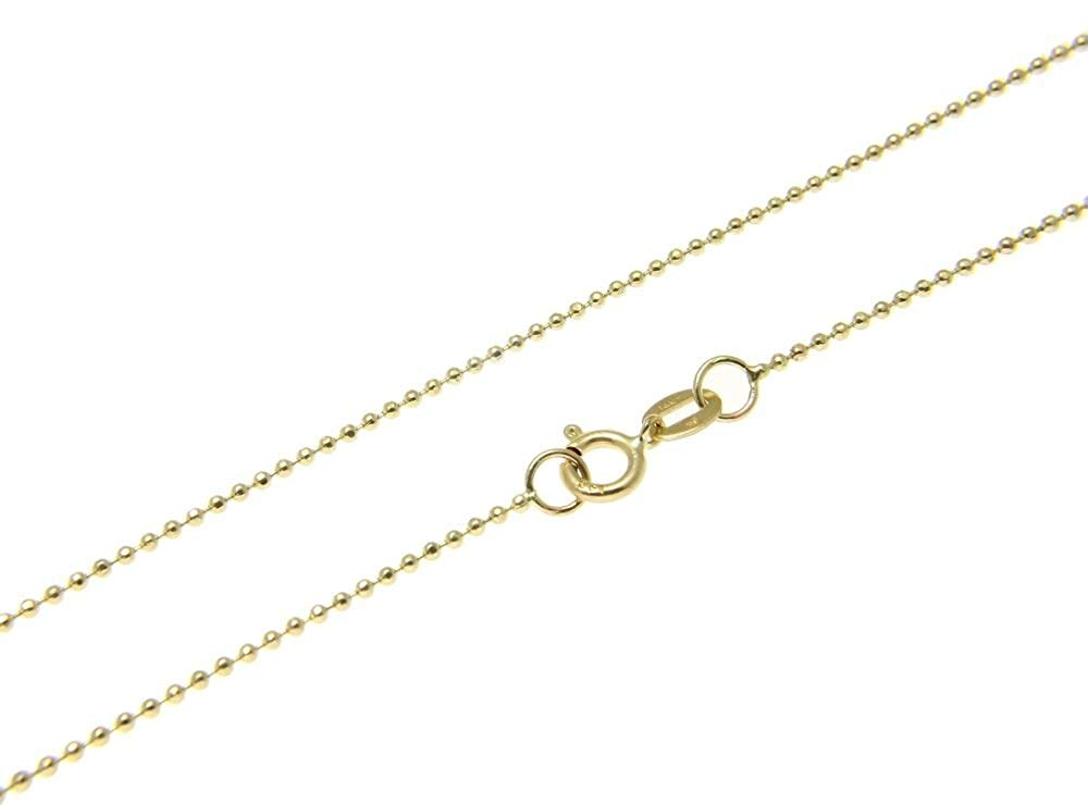 "1mm thick 14k gold plated sterling silver 925 Italian diamond cut BALL bead chain necklace bracelet anklet - 6"", 8"", 10"", 12"", 14"", 16"", 18"", 20"", 22"", 24"", 26"", 28"", 30"", 32"", 34"", 36"", 38"", 40"""