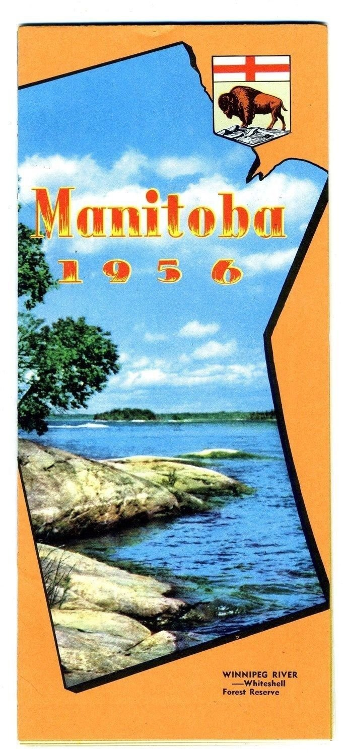 1956 Official Province of Manitoba Highway Map Winnipeg River Cover