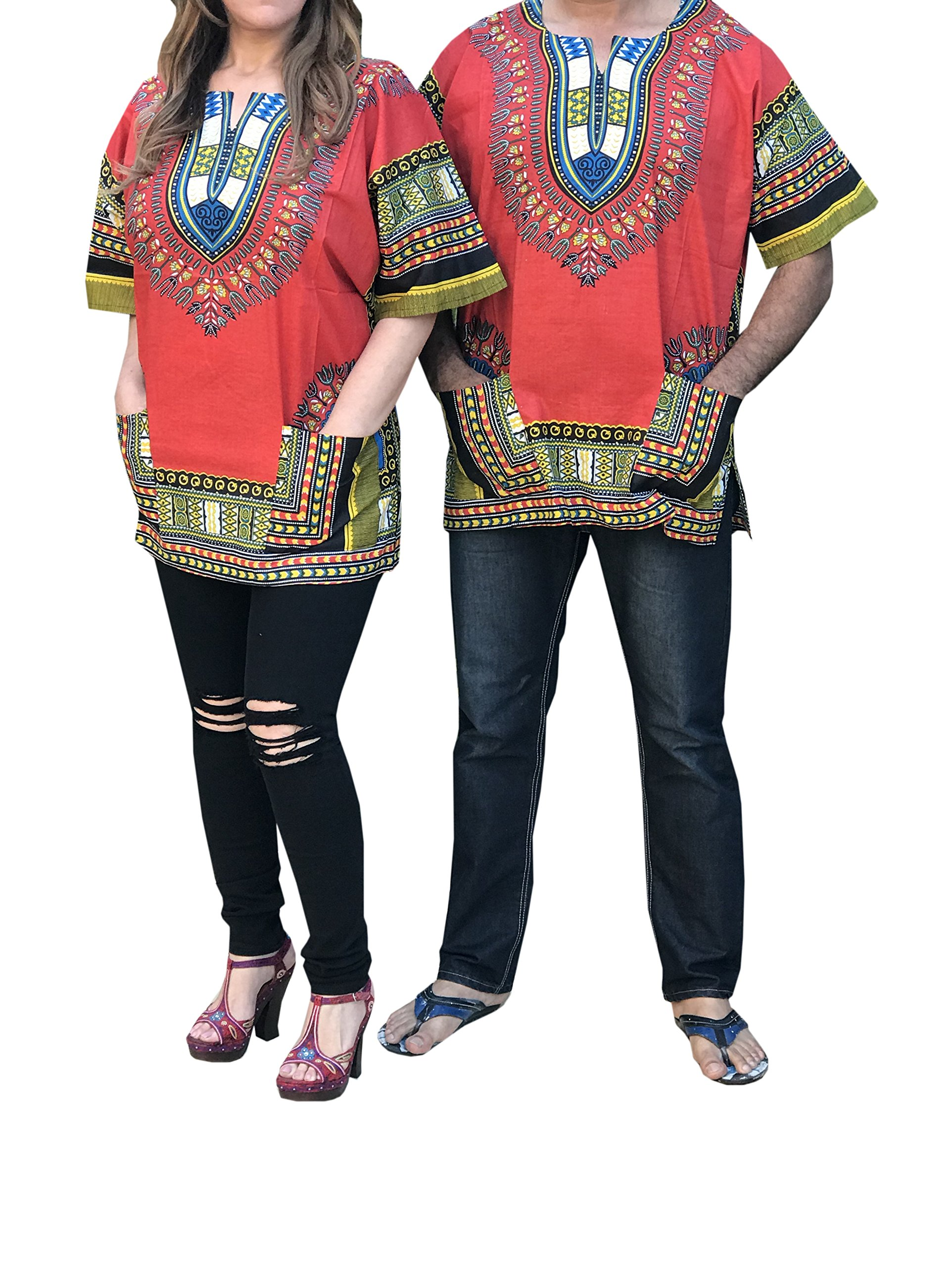 d8c47c4f9658 Get Quotations · African Men Women Dashiki Shirt Top Blouse Hippie Tribal  Caftan with two pockets