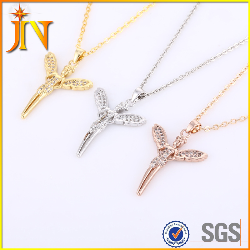 XL0229 rose gold plated CZ fairy with tiny wing pendant jewelry necklace new design necklace best friends for 3