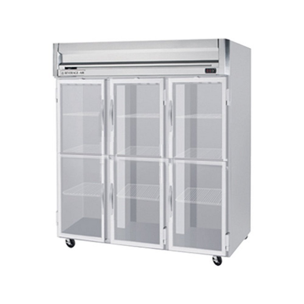 "Beverage-Air HFS3-5HG 78"" Horizon Series Three Section Glass Half Door Reach-In Freezer 74 cu.ft. Capacity Stainless Steel Front Gray Painted Sides and Stainless Steel"