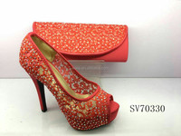 SV70330 peep toe high heel shoes lastest design handcut design shoes factory price ladies shoes and bag matching