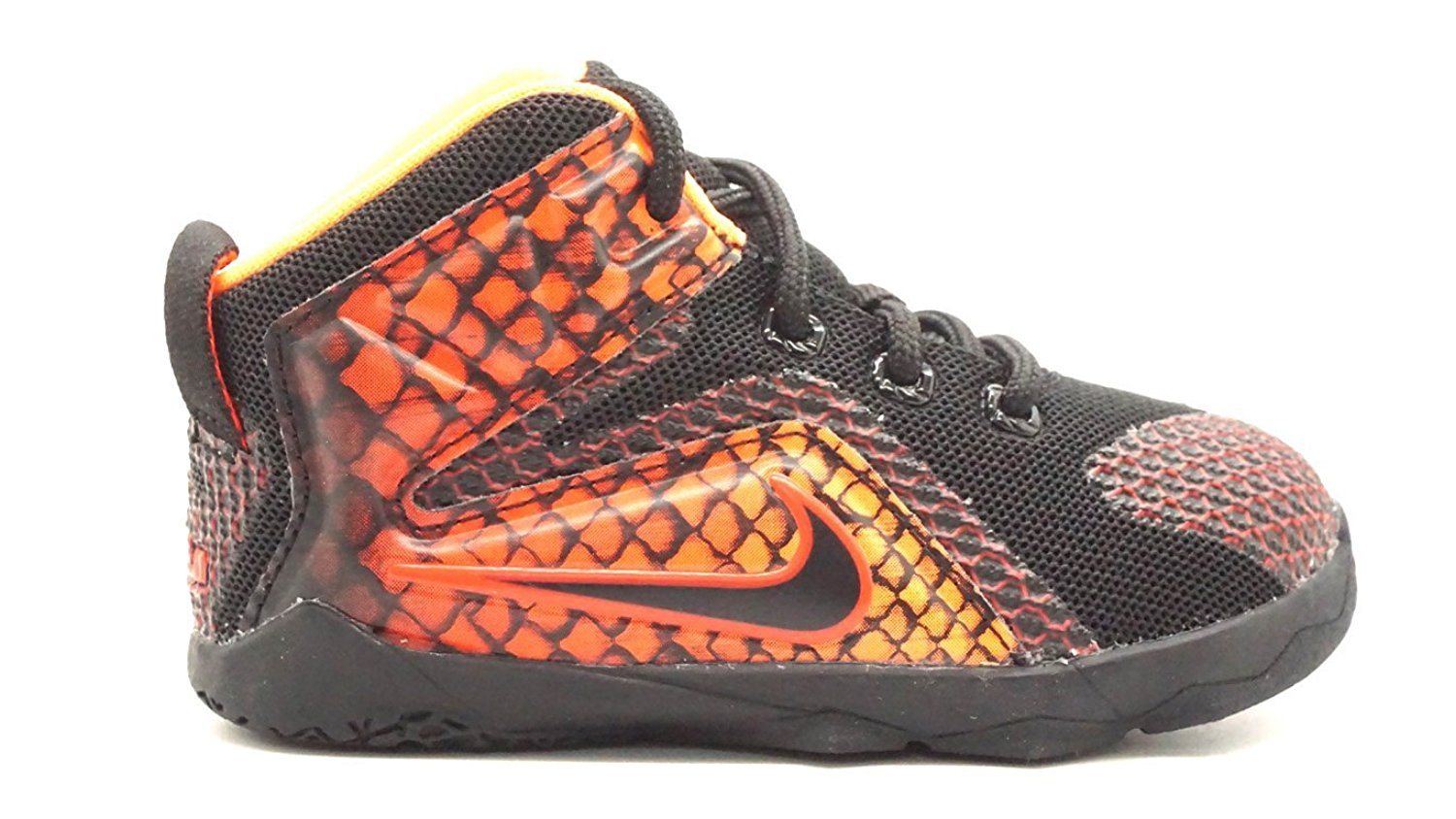 the latest 35ff9 c6ff6 Get Quotations ·  685185-010  NIKE LEBRON XII BLACK CHILLING RED ORANGE  TODDLERS SNEAKERS Size 6c