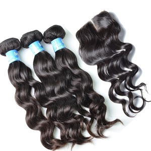 Top quality hair bundles 10a grade Virgin brazilian cuticle aligned hair human hair bundles with 4x4 5x5 6x6 swiss lace closure