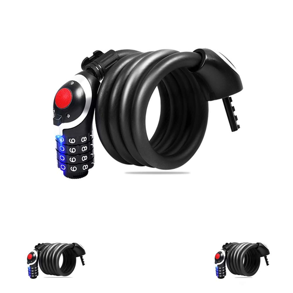 Ajmio Bicycle Cable Lock Steel Wire with 4-Digit Password Anti-Theft Safety for Cycling Motorcycle Mountain Road Bike