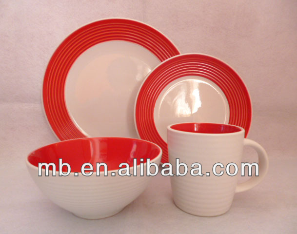 red two tone color glaze 16pcs stoneware dinner set for kitchware,16pcs ceramic dinnerware, henan ceramic factory directly