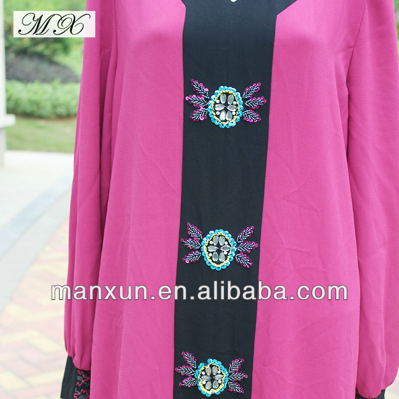 Chiffon Rose Red Istanbul Islamic Abaya Dress with Pallitte and Bead