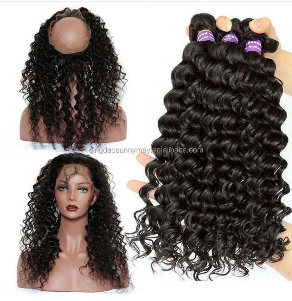 Good quality Brazilin virgin hair pre plucked natural hairline lace frontal deep wave 360 lace frontal with bundles