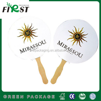 round paper wooden hand fan/Advertising Paper Hand Fan/Custom Logo Diy Paper Hand Fan/