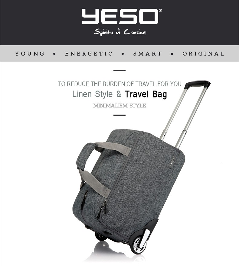 Yeso Trolley Travel Bag Hand Luggage 20 Inch 32l Rolling Duffle Bags Waterproof Oxford Suitcase Wheels Carry On Luggage Unisex