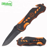 Orange Aluminum Multi Functional Tool Outdoor Hunting Camping Pocket Knife with Badge