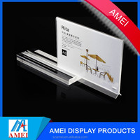 acrylic table business sign holder/ clear table tent/ plastic upright menu ad frame
