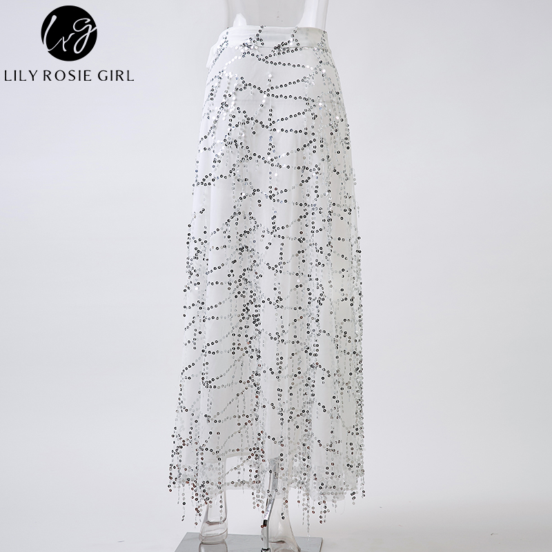 a05539b2be Lily Rosie Girl Women Fashion White Sexy Sequined Straight Empire Maxi  Skirts Casual Summer Beach Party Faldas Mujer Long Skirt