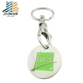 Factory Wholesale trolly metal shopping trolly token keychain