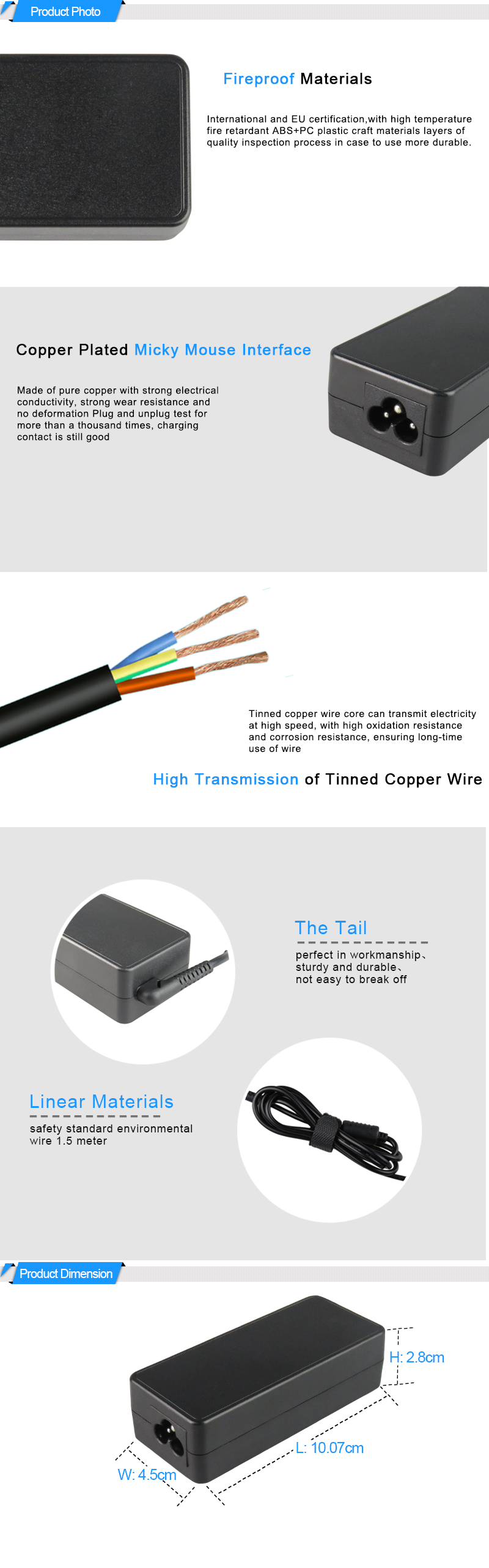 Original Port Connector For AC DC Power Adapter Laptop 20V 3.25A 65W Yellow Square Pin Usb Adapter Charger