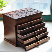 Newest multi-drawer design wooden jewelry box for ring necklace bracelet set earring