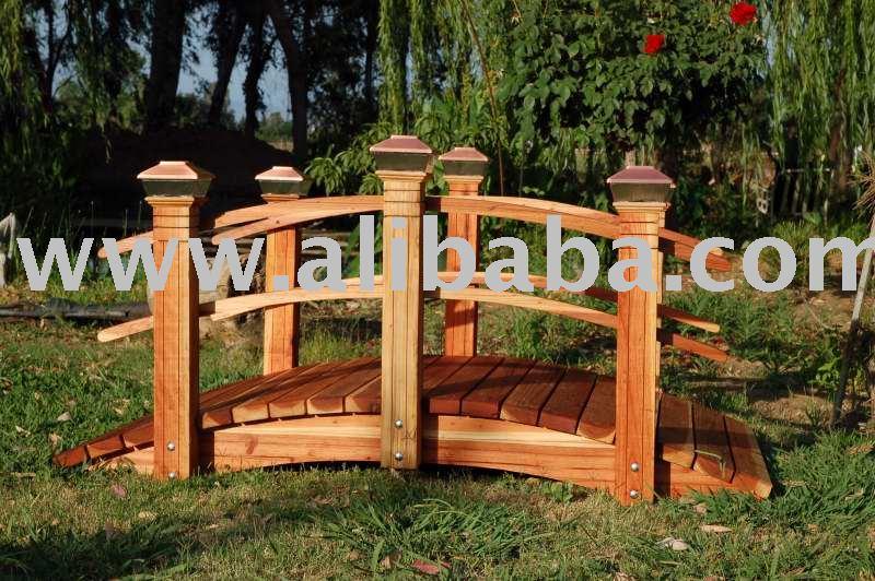 2 hechos a mano redwood jard n puente puentes para for Modelos de estanques