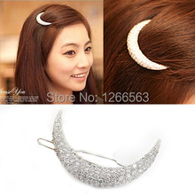Newest Crystal Moon Rhinestone Hair Accessories For Women,Hair Clips For Girls Headdress Hairpin Clamps HB144