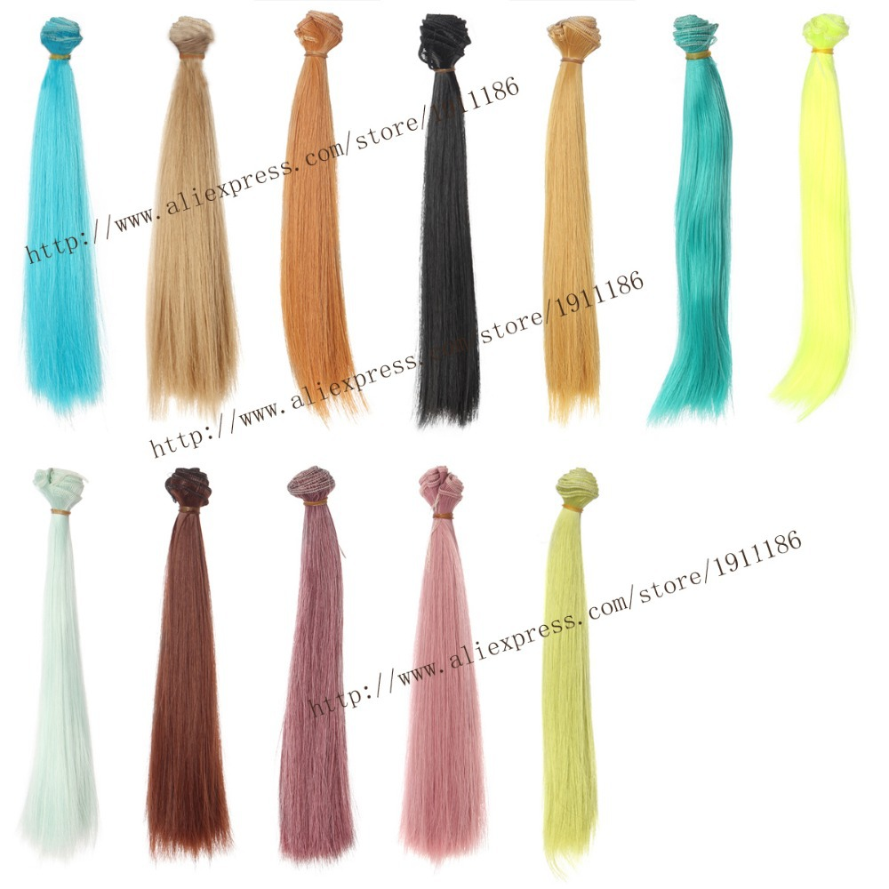 25cm 100cm Doll Wigs hair BJD SD doll hair DIY High temperature Wire Many colors Straight